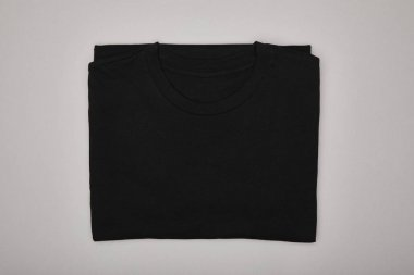 Top view of blank basic black t-shirt isolated on grey stock vector
