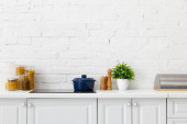 moderní bílá kuchyně interiér s hrncem na elektrické indukční varné desky v blízkosti rostlin a potravin kontejnery v blízkosti cihlové zdi