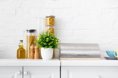 Modern white kitchen interior with breadbox, pasta, oil and green plant near brick wall stock vector