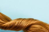Horní pohled na zkroucené hnědé vlasy izolované na modré
