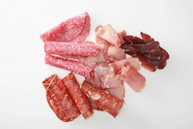 Top view of fresh delicious assorted sliced meat isolated on white stock vector
