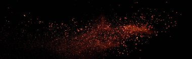 Red colorful holi paint explosion on black background, panoramic shot stock vector