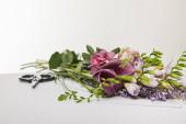 selektivní zaměření fialových a fialových květů v blízkosti nůžek izolovaných na bílém