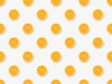 Top view of orange slices on white background stock vector