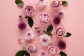 Fényképek felső nézet virágzó tavaszi virágok rózsaszín háttér