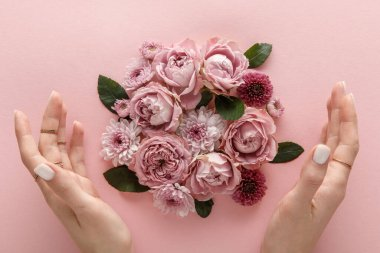top view of blooming spring flowers and female hands on pink background
