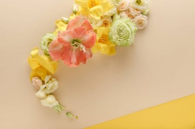 Top view of spring floral bouquet on beige and yellow background stock vector