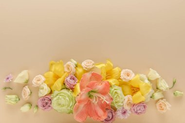 Top view of spring floral bouquet on beige background stock vector