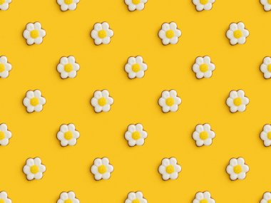 Top view of delicious easter cookies isolated on yellow background, seamless pattern stock vector