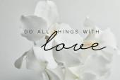 krásné orchidej květiny izolované na bílém, dělat všechny věci s láskou ilustrace