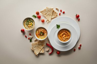 Tow view of plates, bowls with delicious hummus, fresh vegetables and pita bread on grey background stock vector
