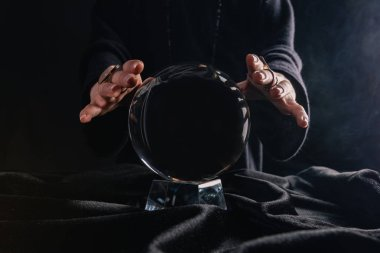 Partial view of female hands above crystal ball on black background stock vector