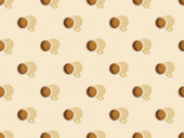 top view of cups of fresh coffee on beige, seamless background pattern