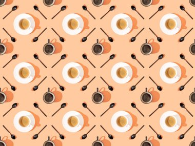 Top view of cups of fresh coffee on plates and spoons on orange, seamless background pattern stock vector