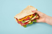 cropped view of woman holding fresh sandwich with salami, pita, vegetables and cheese on blue background