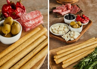 Collage of antipasto ingredients on boards on wooden background stock vector