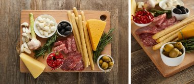 Collage of boards with antipasto ingredients on wooden background, panoramic shot stock vector