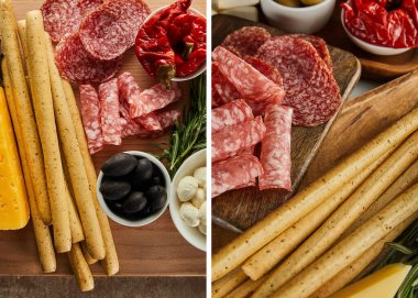 Collage of boards with breadsticks, salami slices and antipasto ingredients stock vector
