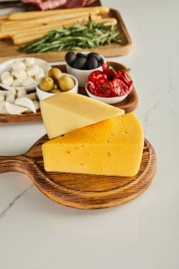 Selective focus of boards with cheese and antipasto ingredients on white stock vector