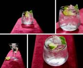 Collage aus Schnaps- und Cocktailglas mit frischem kalten Mojito, Minze und Limettenscheibe isoliert auf Schwarz