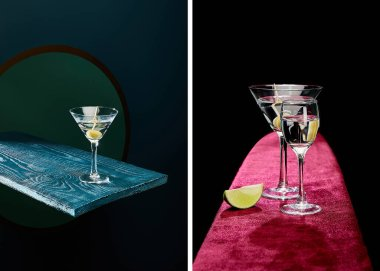 Collage of shot glass and cocktail glass with vermouth, lime slice and whole olive on toothpick on velour and geometric surface on black background