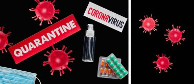 Collage of papers with quarantine and coronavirus lettering near medical mask, pills, hand sanitizer and drawn virus isolated on black stock vector
