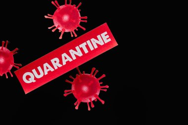 Top view of drawn virus near paper with quarantine lettering isolated on black stock vector