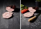 koláž z chutné šunky plátky šunky, cherry rajčata, petržel, sůl, nůž na dřevěném šedém stole