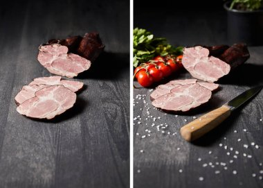 Collage of tasty ham sliced ham, cherry tomatoes, parsley, salt, knife on wooden grey table stock vector