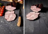 Collage aus schmackhaften Schinkenscheiben, Kirschtomaten, Salz, Messer auf grauem Holztisch