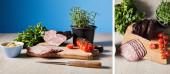 koláž chutné šunky na řezací desce s nožem, petržel, cherry rajčata, olivy na dřevěném stole na modrém pozadí
