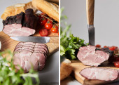 collage of knife in tasty ham on cutting board with parsley, cherry tomatoes and baguette isolated on grey