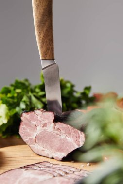 Selective focus of knife in tasty ham on cutting board with parsley isolated on grey stock vector
