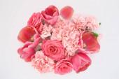 tetejére kilátás rózsaszín tavaszi virágok fehér háttér