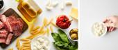 Kollázs férfi kéz tál mozzarella és üveg olívaolaj hússal tálak és összetevők fehér, panorámás lövés