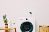 zöld növények és palackok közelében dohányzóasztal, mosoda kosár és mosógép a fürdőszobában