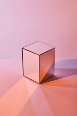 Cube with light reflection on surface on violet and pink background stock vector