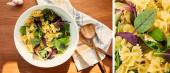 Koláž misky s těstovinovým salátem v blízkosti česneku, ubrousků a špachtle na dřevěném pozadí, panoramatické plodiny