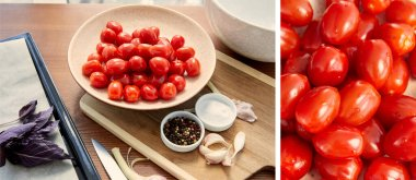 Collage of plate with tomatoes on cutting board near oven tray with ingredients on table, panoramic shot stock vector