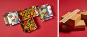 collage of delicious chinese food near chopsticks and takeaway boxes on red