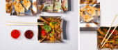 collage of takeaway boxes with fried dumplings and spicy pork near sauces on white
