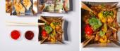 koláž omáček a hůlek v blízkosti odnáškových krabic s připraveným čínským jídlem na bílém
