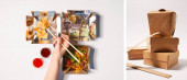 collage of woman holding chopsticks near prepared chinese food and carton takeaway boxes on white