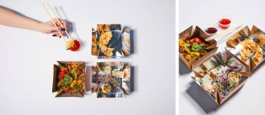 collage of woman holding chopsticks with dumpling near sauce and takeaway boxes with prepared chinese food on white