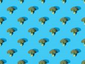 top view friss zöld brokkoli kék háttér, zökkenőmentes minta