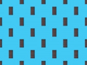 Photo top view of sweet dark chocolate bars on blue colorful background, seamless pattern