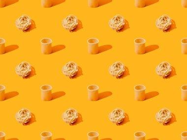 Fresh pasta on orange colorful background, seamless pattern stock vector