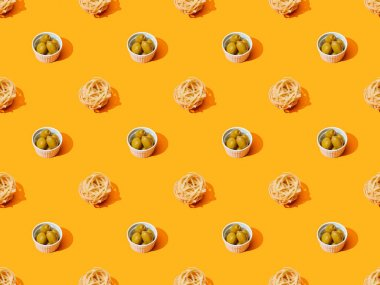 Fresh pasta with olives on orange colorful background, seamless pattern stock vector