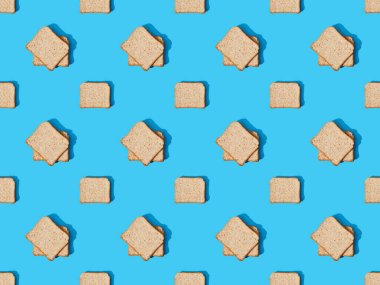 Top view of fresh toast bread on blue colorful background, seamless pattern stock vector