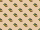 friss zöld brokkoli bézs háttér, zökkenőmentes minta